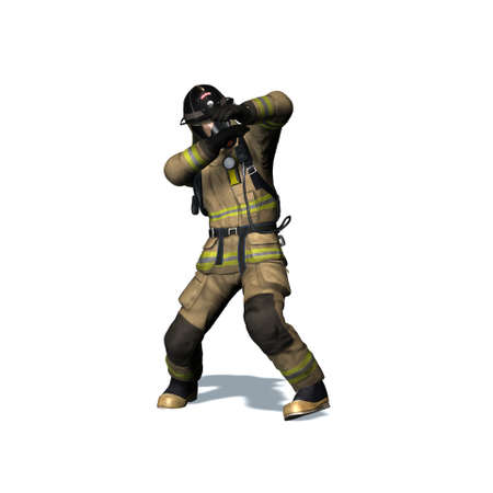 Fire fighter retreats from flame - isolated on white background - 3D illustration Standard-Bild - 129251935