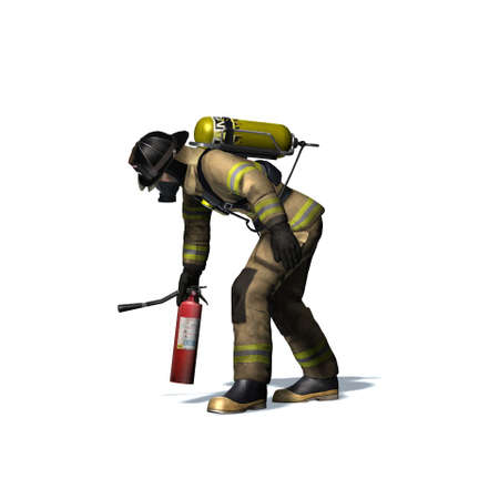 Fire fighter with fire extinguisher - isolated on white background - 3D illustration Standard-Bild - 129251943