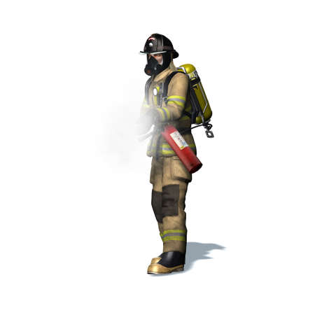 Fire fighter with fire extinguisher - isolated on white background - 3D illustration Standard-Bild - 129251938