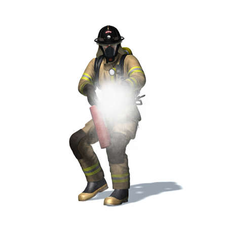 Fire fighter with fire extinguisher - isolated on white background - 3D illustration Standard-Bild - 129251936