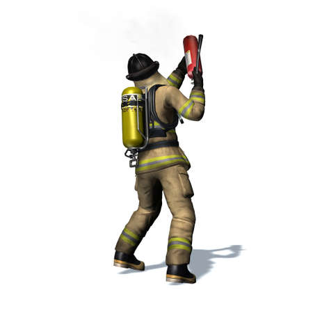 Fire fighter with fire extinguisher - isolated on white background - 3D illustration Standard-Bild - 129251939