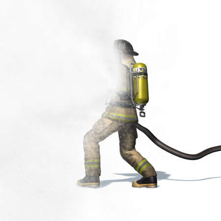 Fire fighter with water hose - isolated on white background - 3D illustration
