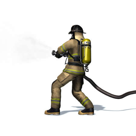 Fire fighter with water hose - isolated on white background - 3D illustration Standard-Bild - 129251931