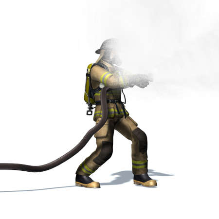 Fire fighter with water hose - isolated on white background - 3D illustration Standard-Bild - 129251946