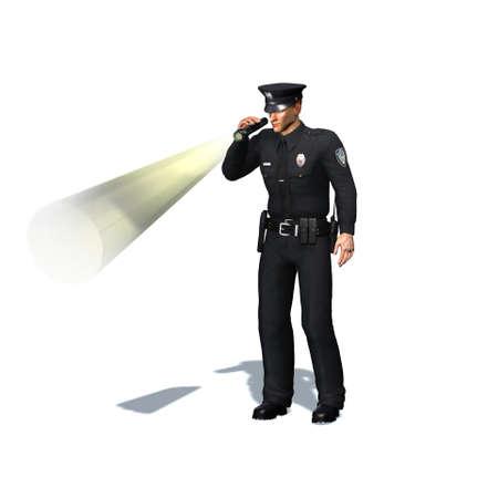 Police officer checks with flashlight - isolated on white background - 3D illustration Standard-Bild - 129251956