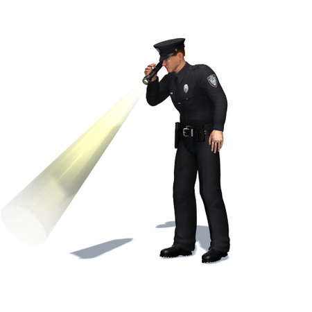 Police officer checks with flashlight - isolated on white background - 3D illustration