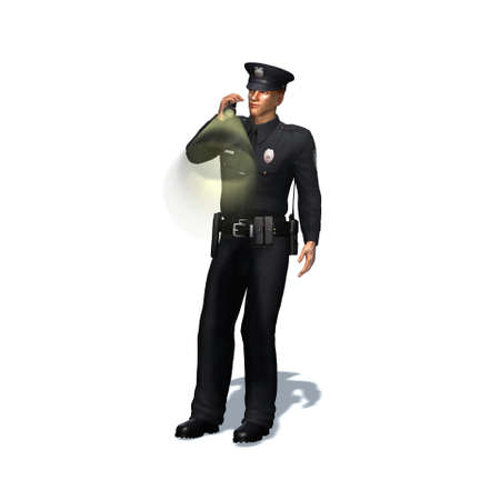 Police officer checks with flashlight - isolated on white background - 3D illustration Standard-Bild - 129251950