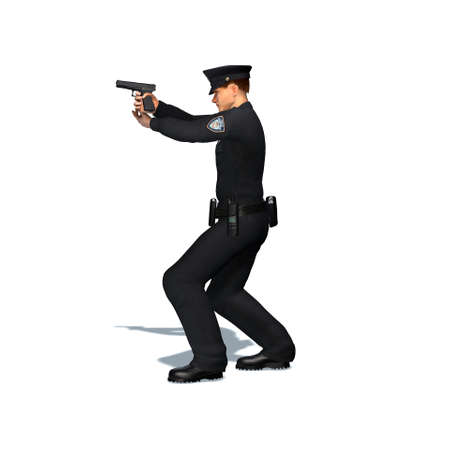 Police officer shoots with pistol - isolated on white background - 3D illustration