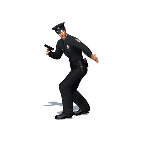 Police officer with pistol - isolated on white background - 3D illustration Standard-Bild - 129251951