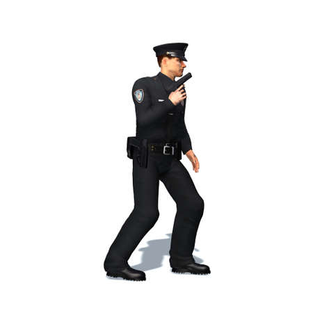 Police officer with pistol - isolated on white background - 3D illustration Stock fotó