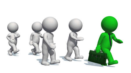 3D white humans running with a green human - isolated on white background - 3D illustration Stock Photo