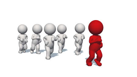 3D white humans running with a red human - isolated on white background - 3D illustration