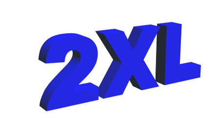 label size collection - 2XL sign blue - isolated on white background - 3D illustration