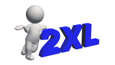label size collection - 2XL sign blue with 3D people - isolated on white background - 3D illustration