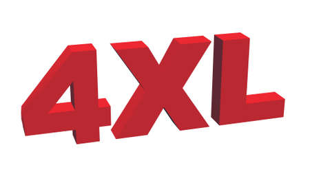 label size collection - 4XL sign red - isolated on white background - 3D illustration 版權商用圖片