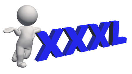 label size collection - XXXL sign blue with 3D people - isolated on white background - 3D illustration