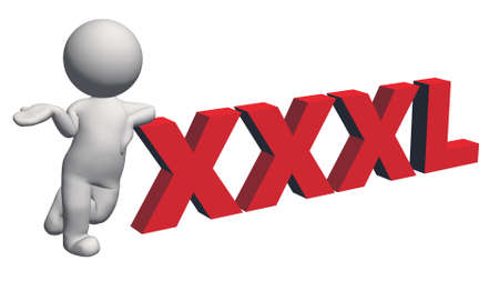 label size collection - XXXL sign red with 3D people - isolated on white background - 3D illustration