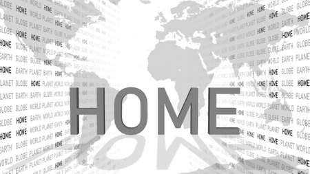 spirit of home - shown in a composition of various graphic elements - grey letters - 3D illustration