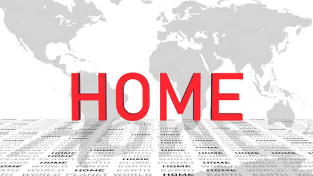 spirit of home - shown in a composition of various graphic elements - red letters - 3D illustration