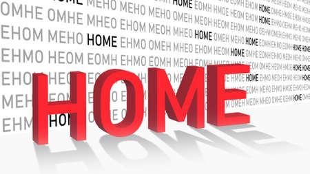 spirit of home - shown in a composition of various graphic elements - title in red letters with shadow on the floor - 3D illustration