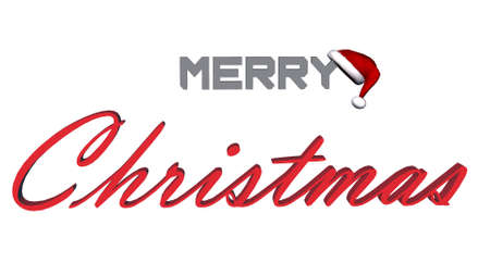 merry christmas 3D lettering - isolated on white background - 3D illustration 스톡 콘텐츠