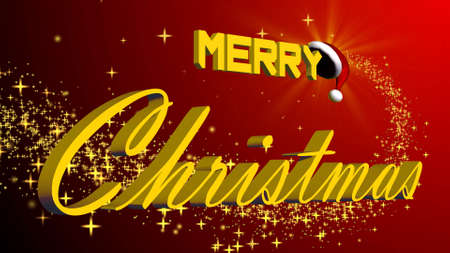 merry christmas 3D lettering in gold colour - in front of a red background with gold stars - 3D illustration
