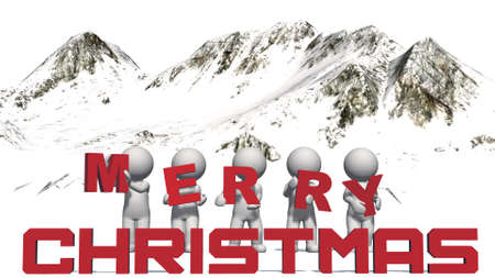 merry christmas with 3D people in front of a mountain panorama - isolated on white background - 3D illustration