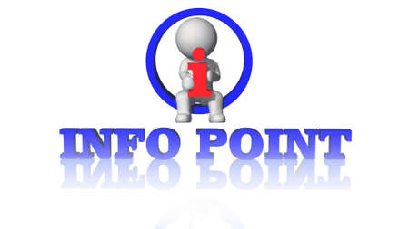 info point lettering in blue color - shown in a composition of various graphic elements with 3D people - isolated on white background - 3D illustration