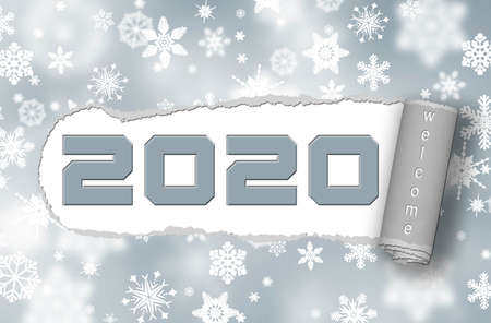 Paper ripped - 2020 with lettering Welcome on white snowflakes background - 3D illustration