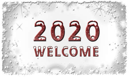Year 2020 with lettering Welcome on white stars background - 3D illustration 스톡 콘텐츠