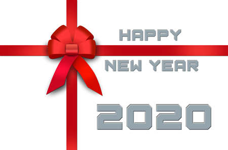 Happy New Year 2020 white greeting card with red ribbon and bow - 3D illustration 스톡 콘텐츠