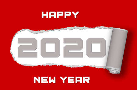 Paper ripped - 2020 with lettering Happy New Year on red background - 3D illustration