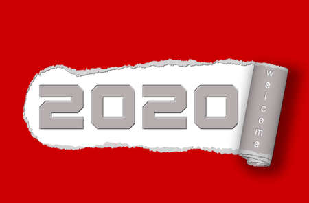 Paper ripped - 2020 with lettering Welcome on red background - 3D illustration 스톡 콘텐츠
