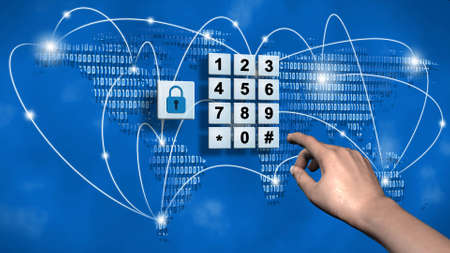 World map and data cloud with closed padlock - pin input at the numeric keypad - business, data and internet security concept - illustrated 3D background - 3D rendering Banque d'images