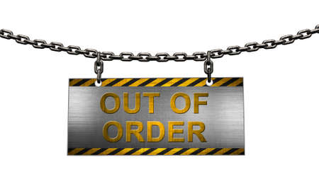 Lettering out of order on metal tag hanging from an iron chain with black yellow edge in front view - isolated on white background - 3D illustration