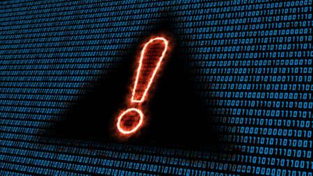 Fondo de código binario en color azul - signo de exclamación ardiente en signo de información negro - Ilustración 3D
