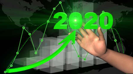 Financial and business chart - Business background - graph and ascending arrow with year 2020 lettering in green colour - 3D illustration