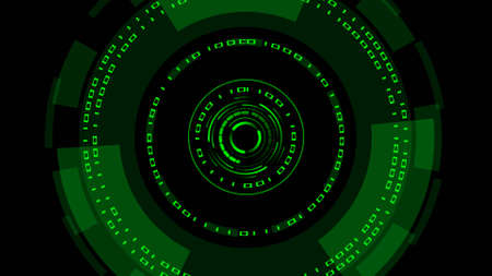 Abstract futuristic background of matrix style binary code built into HUD elements - digital systems technology theme - cyber internet or network concept - 3D illustration