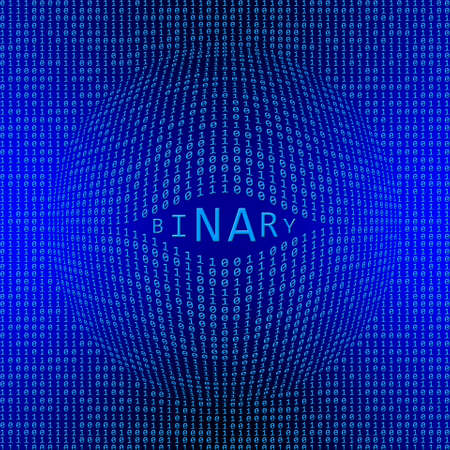 BINARY - lettering integrated into a binary code screen of bright blue digits on a blue background - text window in form of an open eye socket - data flow concept - 3D illustration