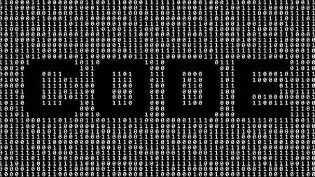 CODE - lettering cut out as part of a binary code screen consisting of gray digits on a black background - 3D illustration