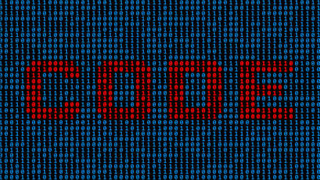 CODE - lettering in red shown as part of a binary code screen consisting of royal blue digits on black background - 3D illustration