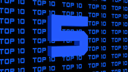 Abstract graphic 3D illustration - digits of the top 10 - single shown number 5 - repeated TOP 10 lettering arranged on a black background - all graphic elements in bright royal blue color
