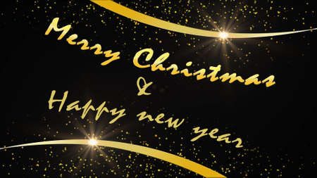 Christmas greeting card in gold design on black background - MERRY CHRISTMAS and HAPPY NEW YEAR lettering - 3D illustration Stock fotó