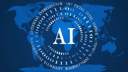 AI - abstract Artificial Intelligence background - circles of binary code with white letters in the center - blue world map background - cyber technology and automation - 3D illustration