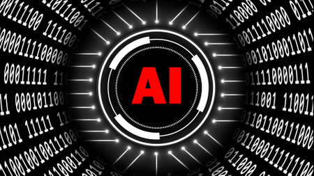 AI - abstract Artificial Intelligence background - binary code arranged in cylinder shape - red letters in center of HUD elements - cyber technology and automation - 3D illustration
