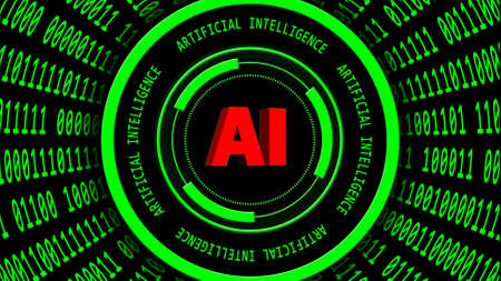 AI - abstract Artificial Intelligence background in green - binary code arranged in cylinder shape - red lettering around and central of HUD elements - 3D illustration