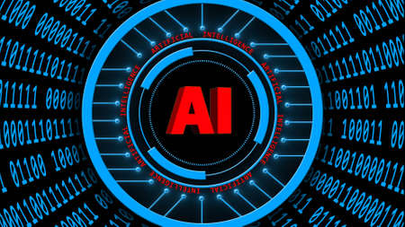AI - abstract Artificial Intelligence background in blue - binary code arranged in cylinder shape - red lettering around and central of HUD elements - 3D illustration