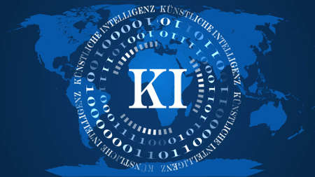 AI - abstract Artificial Intelligence (in german KI - Kuenstliche Intellektiven) background - circles of binary code with white letters in the center - blue world map background - 3D illustration