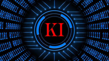 AI - abstract Artificial Intelligence (in german KI - Kuenstliche Intellektiven) background in blue - binary code arranged in cylinder shape - red letters in center of HUD elements - 3D illustration
