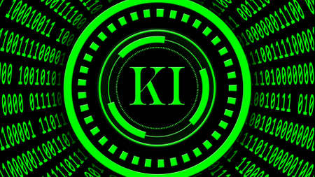 AI - abstract Artificial Intelligence (in german KI - Kuenstliche Intellektiv) background in green - binary code arranged in cylinder shape - letters in center of HUD elements - 3D illustration